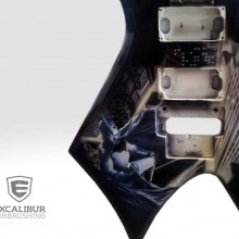 'Batman' Electric guitar designed and airbrushed by Ian Johnson