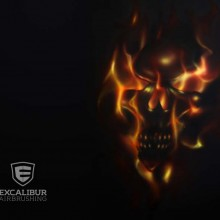 'Flaming Skull' Painting designed and airbrushed by Ian Johnson
