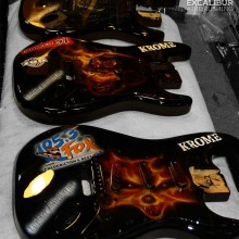 'Killing It With KROME' Electric guitars designed and airbrushed by Ian Johnson for KROME's tour across Canada sponsored by 105.3 The Fox