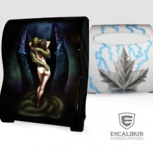 Paper Towel Dispenser Covers designed and airbrushed by Ian Johnson