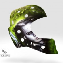 'Sweeney Todd' Goalie mask designed and airbrushed by Ian Johnson for gallery display