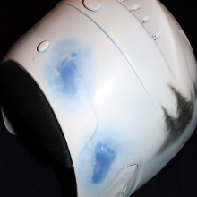 'Screaming Sasquatch' Down hill skiing helmet designed and airbrushed by Ian Johnson for 2010 Canadian Paralympic Skier
