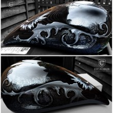'Angels & Demons' Motorcycle gas tank designed and airbrushed by Ian Johnson (Notice the hidden demon face in the filigree design on each side of the gas tank)