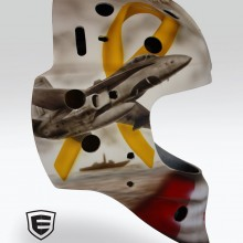 'D-Day' Goalie mask designed and airbrushed by Ian Johnson