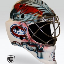 'Canadiens' Goalie mask designed and airbrushed by Ian Johnson