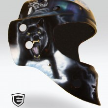 'Wolf Pack' Goalie mask designed and airbrushed by Ian Johnson