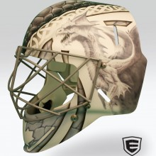 'Double Dragons' Goalie mask designed and airbrushed by Ian Johnson