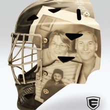 'Tribute to Mark Derry' Goalie mask designed and airbrushed by Ian Johnson (Mark Derry was tragically killed in a car accident by a driver who was texting.)