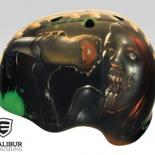 'Corpse Carbie' Roller derby helmet designed and painted by Ian Johnson