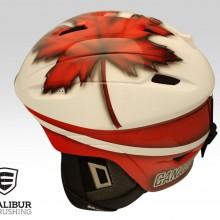 'GO Canada GO!' Ski helmet designed and painted by Ian Johnson