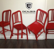 'Coke Red' Flat metal chairs made to look 3D, airbrushed by Ian Johnson