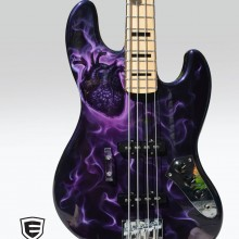 'Purple Heart' Bass guitar designed and airbrushed by Ian Johnson as a tribute to a young man who tragically lost his life but generously donated his heart which was transplanted and brought life to another