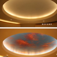 'Dusk til Dawn' Ceiling of the Sacred Space at Royal Columbian Hospital in Coquitlam, BC, designed and airbrushed by Ian Johnson