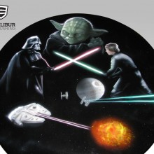 Star Wars table and chairs designed and airbrushed by Ian Johnson