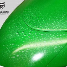 'Apple Green Ninja' Motorcycle rear fender designed and airbrushed by Ian Johnson (Once sprayed apple green, the whole motorcycle was customized with sections of silver marbleizer and an effect that looks like water droplets)