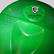 'Apple Green Ninja' Motorcycle gas tank designed and airbrushed by Ian Johnson (Once sprayed apple green, the whole motorcycle was customized with sections of silver marbleizer and an effect that looks like water droplets)