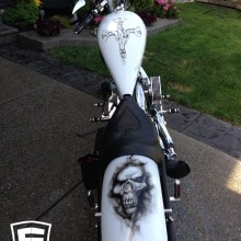 'Ghost Rider' Chopper designed and airbrushed by Ian Johnson (with a tribute to Motley Crue – Saints of Los Angeles album cover on the top of the tank)