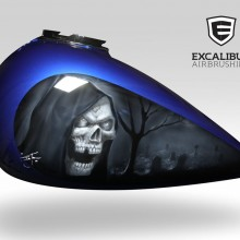 'Sleepy Hollow' Harley Davidson gas tank designed and airbrushed by Ian Johnson