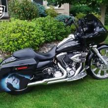 'Joker' Harley Davidson saddlebag designed and airbrushed by Ian Johnson