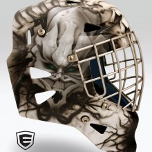 'Alien Virus' Lacrosse goalie mask designed and airbrushed by Ian Johnson