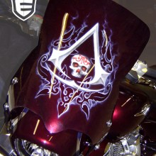 'Assasins Creed' Motorcycle fairing designed and airbrushed by Ian Johnson