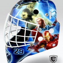 'Avengers' Goalie mask designed and airbrushed by Ian Johnson