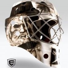 'Dead Men Tell No Tales' Goalie mask designed and airbrushed by Ian Johnson