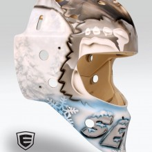 'Beastly Big Foot' Goalie mask designed and airbrushed by Ian Johnson