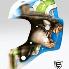 'Crazy Fin' Goalie mask designed and airbrushed by Ian Johnson for Vancouver Canucks playoffs (You can watch a timelapse video of this mask being painted under 'Videos' on our 'About' page)