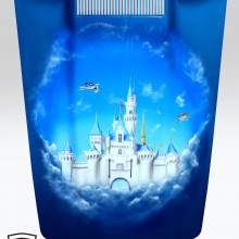 'Castle In The Clouds' Corvette hood designed and airbrushed by Ian Johnson