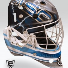 'Water Bucket' Goalie mask designed and airbrushed by Ian Johnson for NHL goalie James Reimer to wear in a photoshoot promoting Formula 4 Oxygenated Water