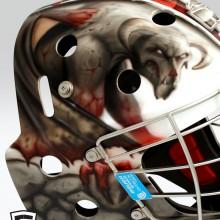'Gargoyles' Goalie mask designed and airbrushed by Ian Johnson