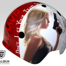 'Goldie Gloxxx' Roller derby helmet designed and painted by Ian Johnson