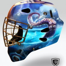 'Killer Kraken' Goalie mask designed and airbrushed by Ian Johnson (Can you see the name in the lightning bolt… It's the goalie's name, Liam)