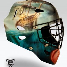 'Life at Sea' Goalie mask designed and airbrushed by Ian Johnson