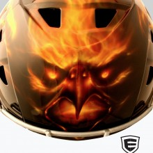 'Phoenix' Back Catchers helmet designed and airbrushed by Ian Johnson