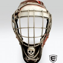 'We Be Comin Fer Ye Rum' Goalie mask designed and airbrushed by Ian Johnson (Notice the hidden skull at the top of the cage)