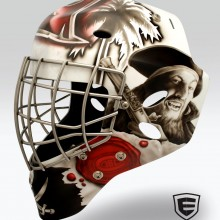 'We Be Comin Fer Ye Rum' Goalie mask designed and airbrushed by Ian Johnson