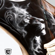 'Tribute to Queen' Motorcycle fairing designed and airbrushed by Ian Johnson (The Lion represents Leo which is the zodiac sign of band members Roger Meaddows Taylor and John Deacon)