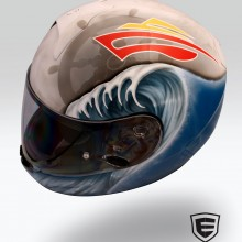 'Stormy Seas' Motorcycle helmet designed and airbrushed by Ian Johnson