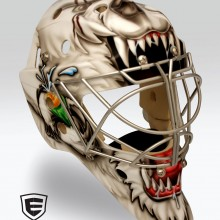 'Raging Bear' Goalie mask designed and airbrushed by Ian Johnson