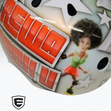 'Rewa Rock U' Roller derby helmet designed and airbrushed by Ian Johnson