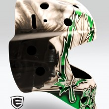 'Sioux' Goalie mask designed and airbrushed by Ian Johnson (Notice the wolf hidden inside the Warriors face)