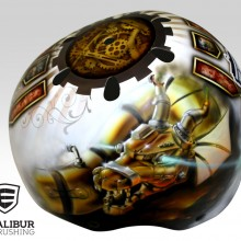 'Steampunk Dragon' Roller derby helmet designed and painted by Ian Johnson