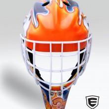 'Syracuse' Goalie mask designed and airbrushed by Ian Johnson for CHA, University of Syracuse goalie, Jennifer Gilligan