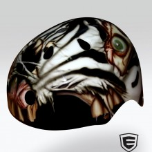 'Zombie Zebra' Roller derby helmet designed and airbrushed by Ian Johnson