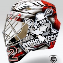 'Roughnecks' Goalie mask designed and airbrushed by Ian Johnson for NLL Goalie, Frankie Scigliano, of the Calgary Roughnecks
