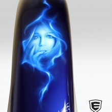 'OutKasts' Harley fender designed and airbrushed by Ian Johnson (This portrait is on the rear facing end of the fender)