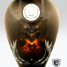 'Angels & Demons' Motorcycle gas tank designed and airbrushed by Ian Johnson (The demon Diablo is facing off against archangel Tyrael)