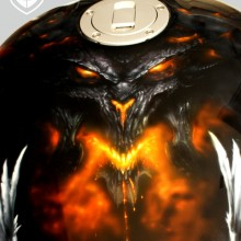 'Angels & Demons' Motorcycle gas tank designed and airbrushed by Ian Johnson